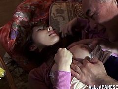 Adorable Japanese girl gets her titties and pussy licked by the old dude. After that she gives him a blowjob and gets her vagina fucked. Then this man cums on her tits.