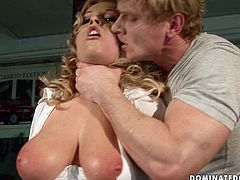 Jaw dropping blond fairy with a couple of oversized slack tits gets tied to a pole by an insatiable fucker before he starts drilling her soaking pussy with his fingers in BDSM-involved sex video by 21 Sextury.