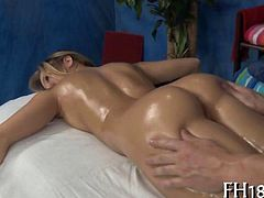 Hot 18 year old babe gets fucked hard from behind by her massage therapist