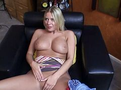 Booty and busty blond head Riley Evans goes solo and tickles pussy