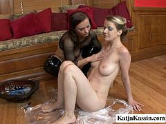 Anita released Katja from plastic trap. She also plays with Katja's pussy so she moans wild as crazy. Kinky bitches in fetish sexuality XXX free porn clip.