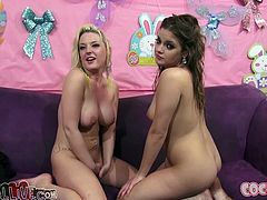 Very stunning babes Ashlynn Leigh and Tristyn Kennedy with natural tits are horny and eager to suck hard cock until the guys cum in their mouth.