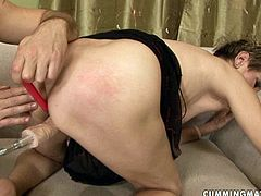 Wanton dark-haired mature is having her first ever sexual experience with fucking machine. She bends down to get her ruined pussy drilled hard from behind in peppering sex video by 21 Sextury.