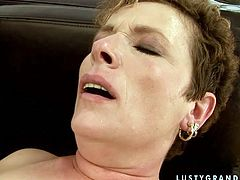 Old mature lesbian fucks young brunette with monstrous dildo toy. She thrust it deep in her fresh shaved pussy and makes her moan with a great pleasure.