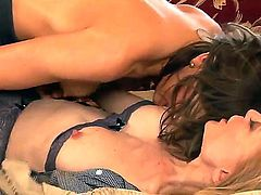 Bored and naughty Mia Presley and Nina Hartley with delicious asses and juicy hooters gets naked while making out and enjoy licking each others wet pussies on a lazy afternoon.