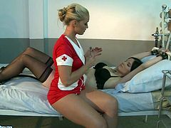 21 Sextury xxx clip provides you with two lesbians, who love femdom. Kinky long legged and slim brunette in stockings gets her tits jammed while being tied up. Blond haired nurse in red sexy dress smacks her rounded ass up till it gets red right on the bunk bed.