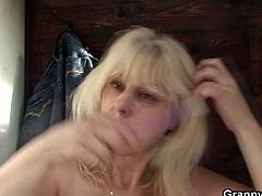 Watch a vicious blonde milf stripping off in public before giving a young stud a hell of a blowjob. Then they go into the restroom so he can bang her shaved clam into heaven.