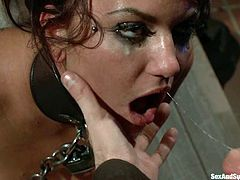 She loves being controlled and James Deen does it so rough. He abuses her, bondaging her legs and arms and fucking her hot pussy!