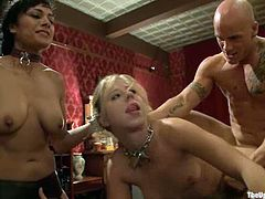 Derrick Pierce is playing filthy games with Dylan Ryan and her salacious GFs. She makes one of the chicks suck his dick and then destroys her sweet pussy from behind.