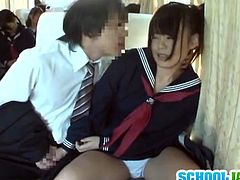 She got involved into some cock sucking on the public bus. Check out this innocent asian teenie giving head so she can ride free!