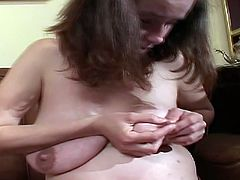 21 Sextury xxx clip provides you with ugly pregnant slut. This brunette with huge droopy tits sits naked on the couch. Her legs are stretched wide and she rubs her wet too bushy cunt madly for orgasm.