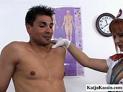 Sergio is here to get treatment on his painful shoulder. Instead he gets his cock sucked deepthroat by nasty blonde nurse with big boobs.