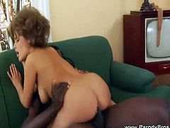 Check out this old school chick trying out a huge black shaft for the very first time. She takes it up her shaved slit and then up her virgin asshole!