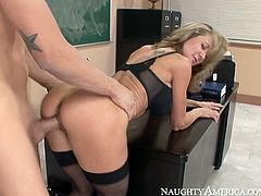 Horny cougar with stunning body shape seduced her student for sex. Steamy mom got rammed hard from behind bending over the table. Then the couple fucked missionary style.