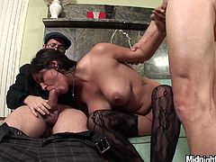 Horny and zealous brunette has sweet natural tits and desires to be fed with cum. Kinky brunette bows above the hot cocks and gives solid blowjobs for sperm right away.