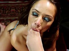 Kristina Rose puts Skin's whole front of her foot in her mouth and sucks on it hard. She sucks on her toes and the two lesbians lovers rub their pussies together. The toe sucking continues until both lesbians are so wet.