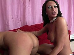 Slender hot and weird brunettes with nice butts and sweet tits desire to be fed with cum. Lucky bastard gets a super solid blowjob and rimjob provided by horny sluts right on the couch.