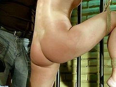 Horn-mad dude ties up spoiled bootylicious blondie and fixes her hands to prison bars. Spoiled dude fucks her wet pussy from behind tough cuasing loud moans of curvy pale nympho in 21 Sextury xxx clip.