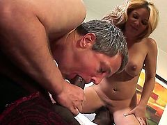 Handsome black bull Jason B gets his long meaty cock sucked good by kinky bisex husband Jimmy Broadway while his whorish brunette Kiki Daire with big tits is watching.