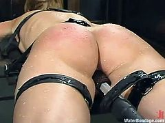 This blond honey can stand any kind of humiliation. But we bet that you haven't seen anything like this before! Power of water bondage, man!