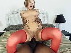 The short-haired white chick Allie Sin is going to play with her pussy to warm it up as it's going to take a pounding from a big black cock today.
