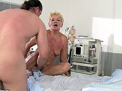 Kinky pale and wrinkled old fatso is in the hospital. Bitchie nympho with ugly saggy tits and big droopy ass goes nuts when she sees a boner. Spoiled harlot rides and sucks a strong cock right on the bunk bed for orgasm.