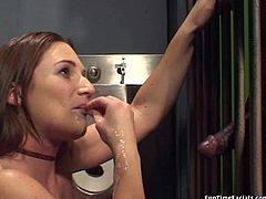 Fierce slut Gen Padova is sucking black cock in jail