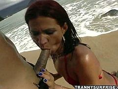 Lustful Paola Felix gives a blowjob to a guy on the beach. Later Paola lies down on the ground and gets fucked hard in the ass.