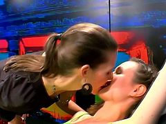 This is some sort of German reality show where a girl is selected for a gang bang with a sexy anchor.