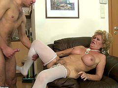 Ruined fat grandma gets her bushy cunt pounded in doggy and missionary styles
