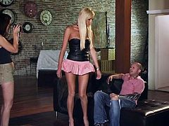 Check out this slutty blonde. She's looking damn fine in that very short skirt and she doesn't even has to bend over, to reveal her black panties. The babe goes down and dirty for this guy's cock, grabs it firmly and puts it between her sweet lips. Damn, she sucks it hard and then receives a pussy lick.