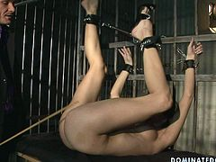 This chick must have something very bad to be locked in the jail cell. Horny overseer gives her a good ass whipping and then he licks her pussy greedily like a true cunt licker. Make sure you don't miss this wild BDSM video!