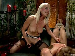 Lorelei Lee, the blonde vixen, is going to strapon fuck a guy in this femdom video where she shows him who the boss really is.