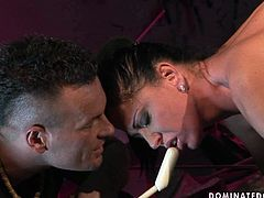 Chesty brunette Andrea gets punished in hot BDSM way by cruel stud