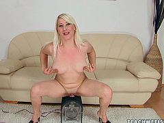 Horn made blond mature gets undressed in front of cam exposing her curvy frame and slack tits before she tops a dildo saddle for a quick ride in solo sex video by 21 Sextury.