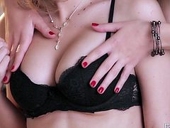 Jelena and Karina are two of the classiest girls you'll ever see. Breathtaking gals with big luscious tits are all over each other, kissing and licking each other's tits.