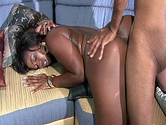 Watch this hot ebony Milf with big tits and sexy big round ass comes to meet her friend but this friend loves to fuck this sexy ebony with his big black cock.