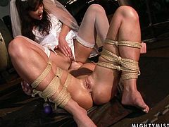 This gorgeous mistress in white dress wants to teach her slave some manners. She toys her pussy fervently and then she lets her get a taste of her delicious fanny.