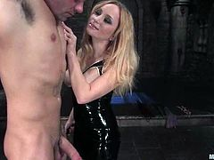 There's torture, pegging, spanking, bondage and more kinky action in store for this guy in this femdom vid courtesy of Aiden Starr.