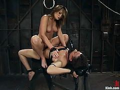 The beautiful girl Flower Tucci is going to do all kind of kinky stuff with this guy in this femdom BDSM video with strapon action.