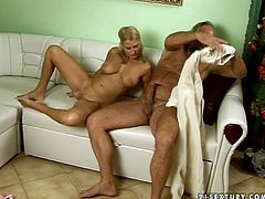 Lusty blonde girl with ponytails is getting her pussy licked by horny old grandpa. His beard tickles her pussy while he eats cherry. Then she gets on top of his cock jumping actively.