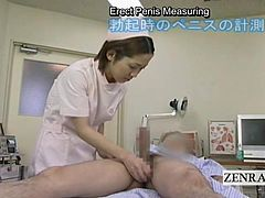 An instructional video tool for new Japanese nurses at a unique male oriented medical clinic dealing with foreskin issues such as phimosis where a uniformed nurse is shown massaging a CFNM patients shaft before measuring his erection leading to