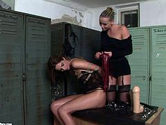 Perverse horn made domina gives bad times to submissive brunette MILF. She bandages her cuddly body before she forces her give her give a blowjob to strap on in BDSM-involved sex clip by 21 Sextury.