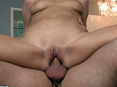 Ardent blond MILF welcomes hard cock inside her mouth to give it a thorough blowjob before she tops it for reverse cowgirl ride in sizzling hot sex video by 21 Sextury.