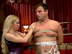 Divine bitch Aiden has a way with men. She knows how to play with them and make them feel wonderful. Marcelo is about to find out all that, as the blonde mistress got him all tied up and tortured his cock with laundry pliers.
