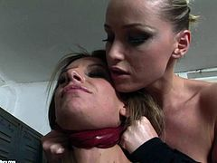 Skanky brunette hoe gets bandaged by voracious domina she forces her to suck a lash handle, which she later uses her slap her ass in sultry BDSM-involved sex video by 21 Sextury.