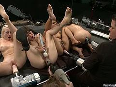 Annie Cruz, Lorelei Lee and their lesbian GFs are playing dirty games in a basement. The hotties touch each other's beautiful bodies and then get their pussies pounded by fucking machines.