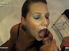 She likes to feel all the jizz dripping over her naughty face