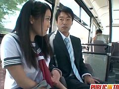 Japanese teen Mao Kurata fucked in public as this horny and very lucky dude enjoys her wet pussy in the bus. He didn't care about the people around them, just as long as they enjoy this horny encounter.