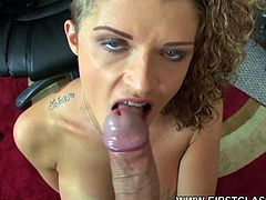 Wild hottie goes nasty with a big cock stroking her hard in POV action